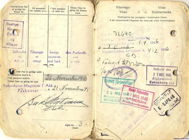 Паспорт Дании: 1945 год - страницы №№4-5