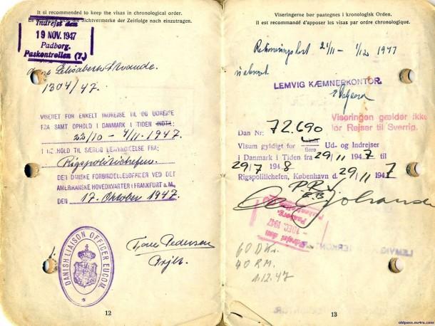 Паспорт Дании: 1945 год - страницы №№12-13