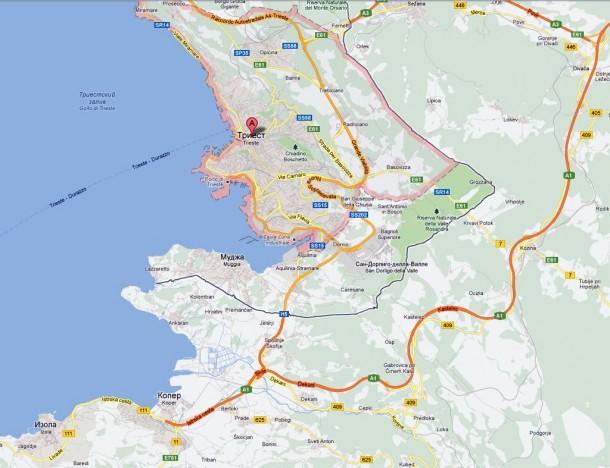 Карта: Триест (Италия)- Копер (Словения)