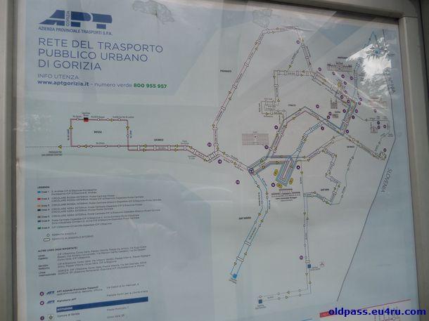 Схема движения автобуса в Горизии