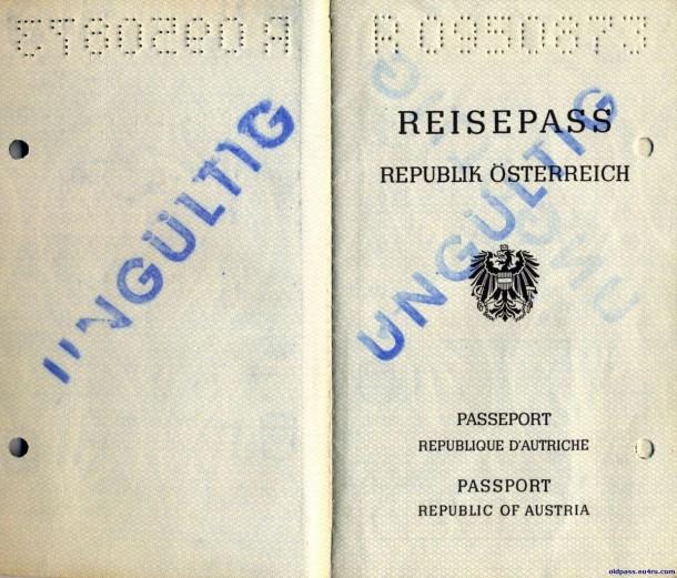 Паспорт Австрии: 1987 год - страница №1