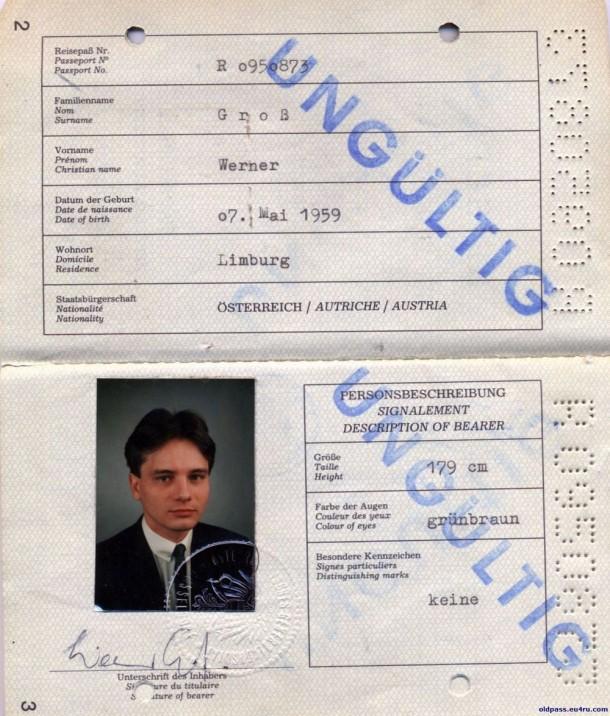 Паспорт Австрии: 1987 год - страница №№2-3