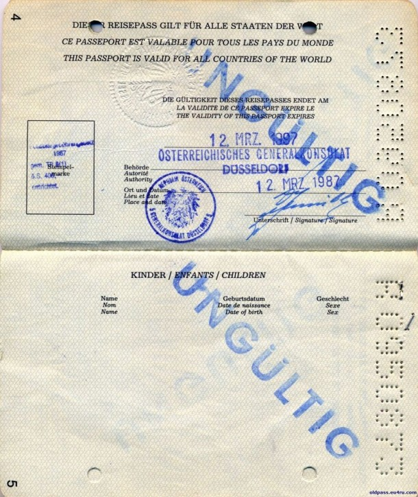 Паспорт Австрии: 1987 год - страница №№4-5