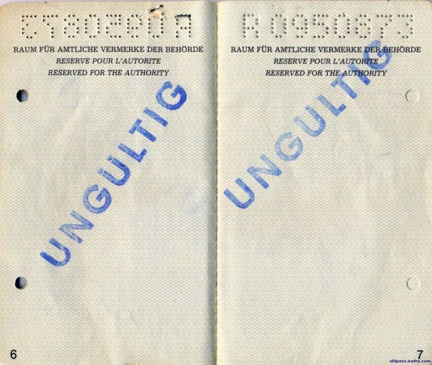 Паспорт Австрии: 1987 год - страница №№6-7