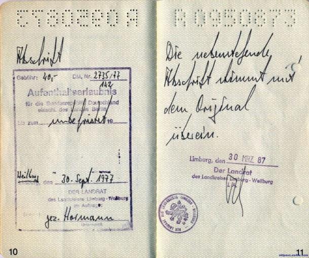 Паспорт Австрии: 1987 год - страница №№10-11