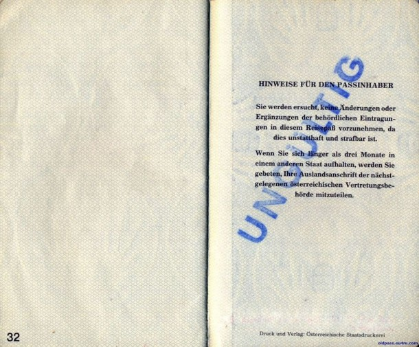 Паспорт Австрии: 1987 год - страница №32